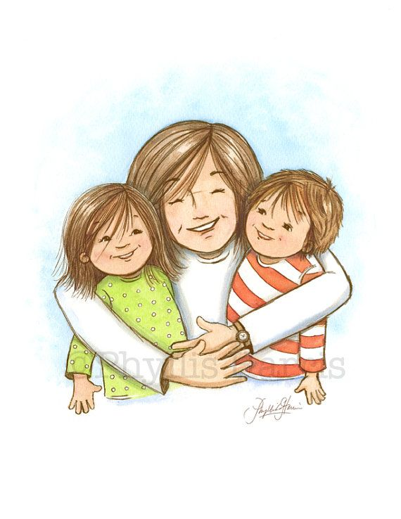 Mother hugging children clipart black and white picture black and white library Wall art #Mom hugs are the best Mother by ... picture black and white library