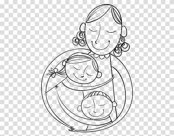 Mother hugging children clipart black and white black and white library Drawing Coloring book Mother Son Child, mom hug transparent ... black and white library