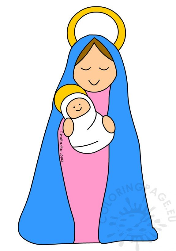 Mother of jesus clipart image library stock Mother Mary and Baby Jesus clipart – Coloring Page image library stock
