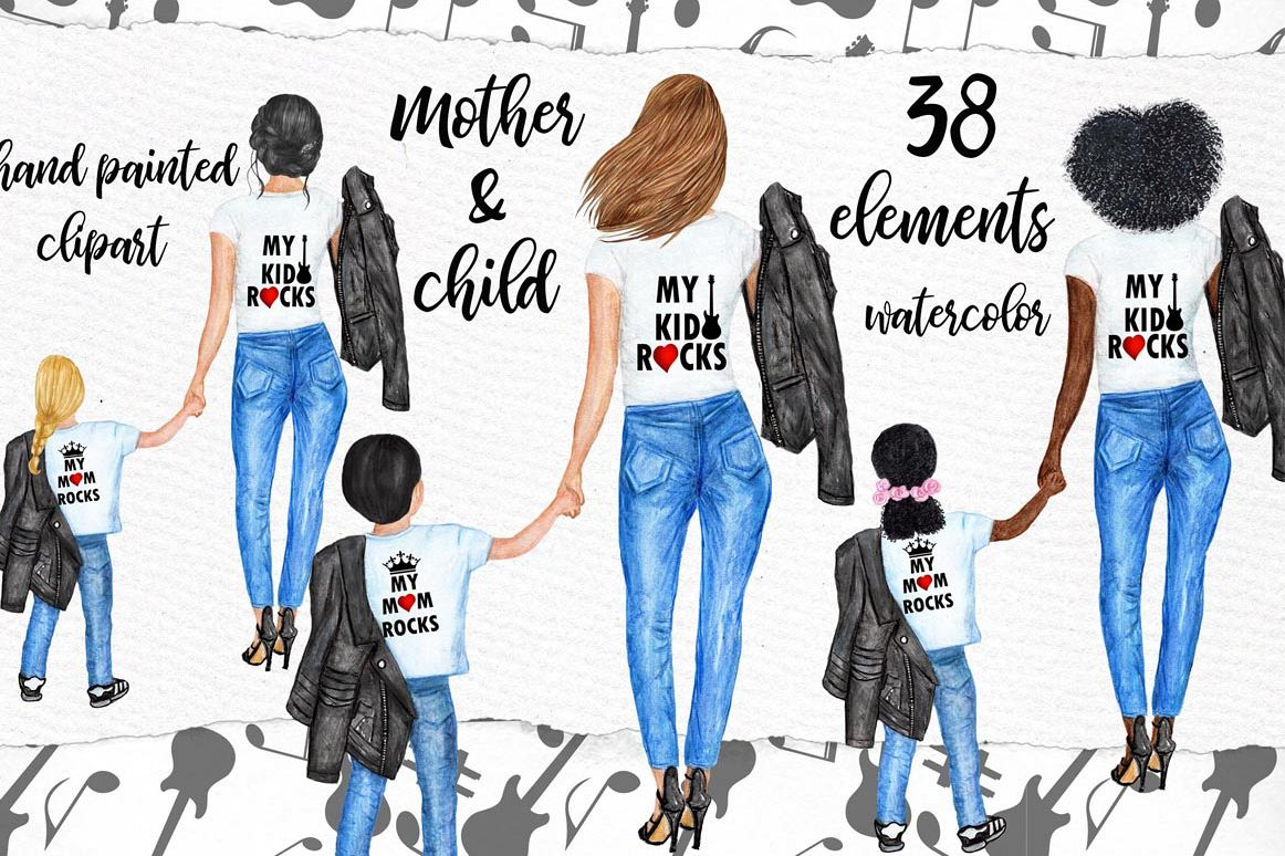 Mother with children clipart vector freeuse stock Mother and child clipart,MOTHERS DAY CLIPART, Fashion Png vector freeuse stock
