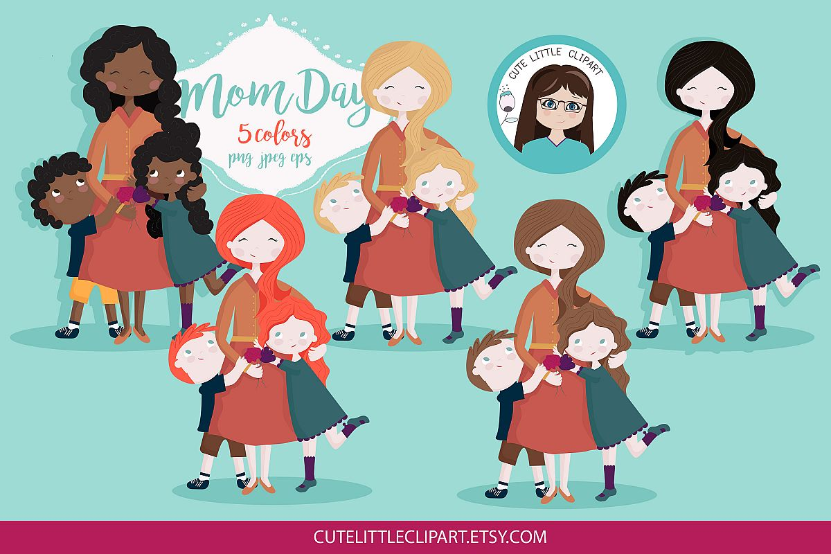Mother with children clipart clipart free stock Mom and children clipart clipart free stock