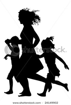 Mother with kids clipart clipart freeuse Mother Silhouette Vector | Silhouette Clip Art | Pinterest ... clipart freeuse