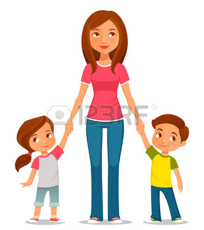 Mother with kids clipart image freeuse library 17,482 Mother Child Isolated Stock Illustrations, Cliparts And ... image freeuse library