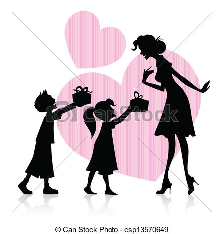 Mother with kids clipart jpg free Vector Clip Art of Kids giving gift to Mother - illustration of ... jpg free