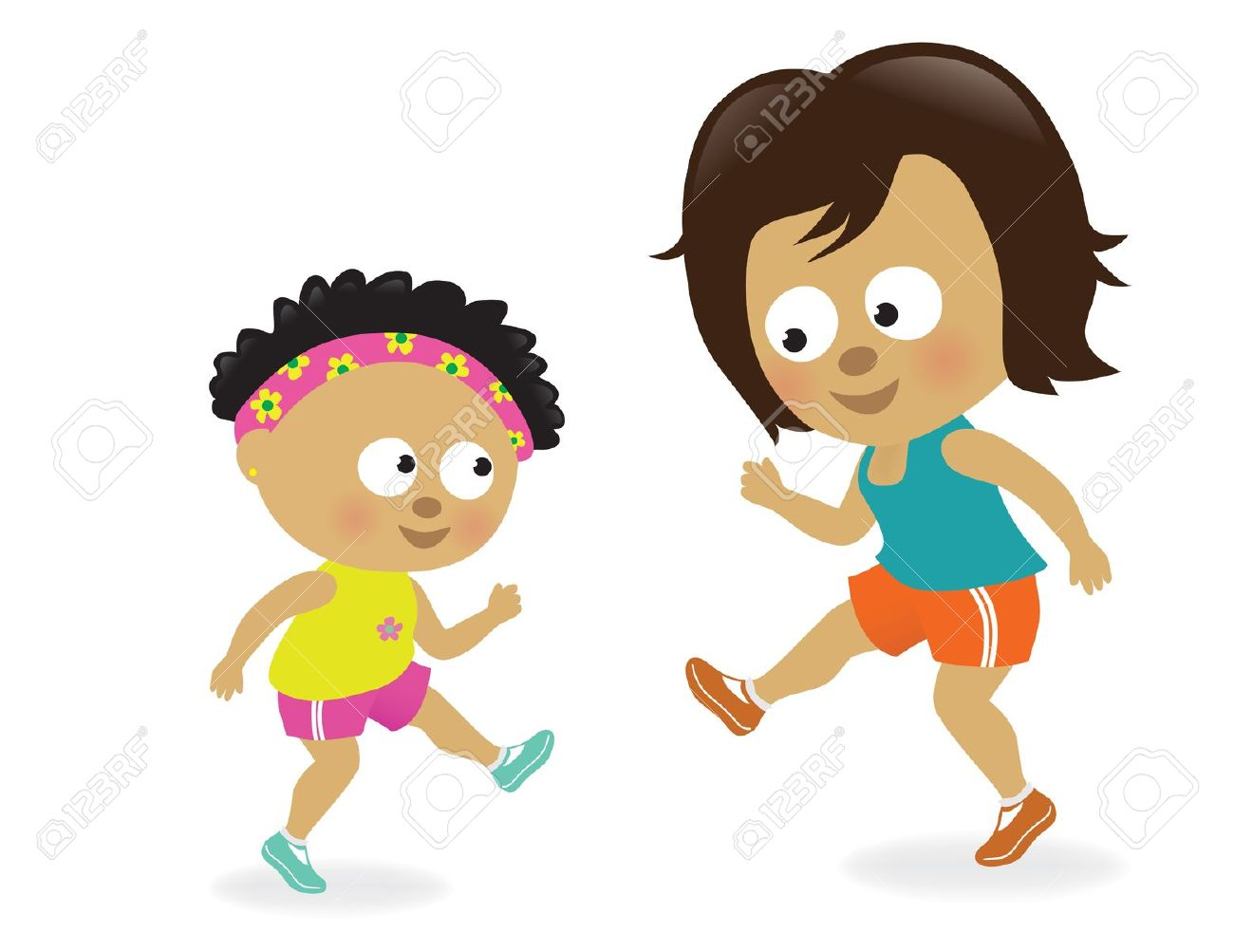 Mother with kids clipart clipart transparent Mother And Daughter Exercising Royalty Free Cliparts, Vectors, And ... clipart transparent