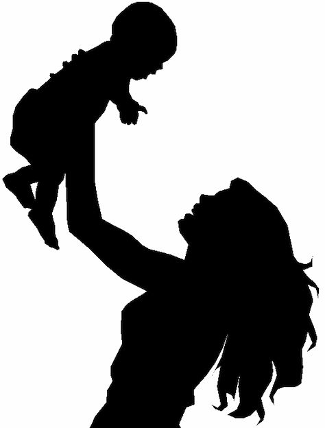 Mother with kids clipart clip library download 17 Best images about mother & kid on Pinterest | Flower silhouette ... clip library download
