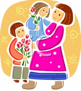 Mother with kids clipart png transparent Children Giving Their Mother Flowers - Royalty Free Clipart Picture png transparent