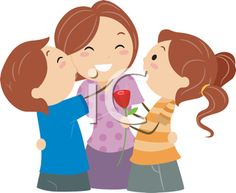 Mother with kids clipart freeuse iCLIPART - Cartoon Clip Art Image of Kids Giving their Mother ... freeuse
