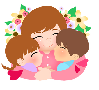 Mother with kids clipart clipart Kids hugging mother clipart - ClipartFest clipart