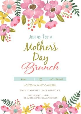 Mothers day breakfast clipart black and white free jpg freeuse Printable Watercolor Mother\'s Day Brunch Invitation Template ... jpg freeuse