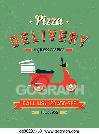 Moto delivery clipart jpg freeuse stock EPS Illustration - Vintage delivery poster with old ... jpg freeuse stock