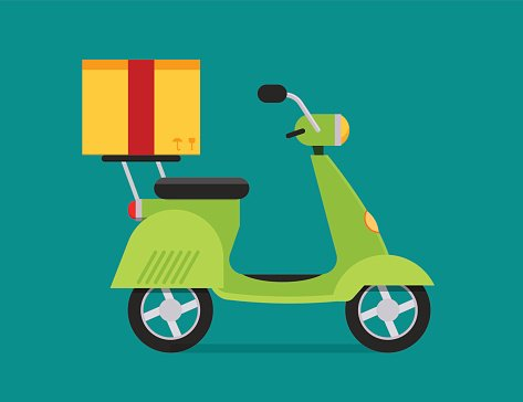 Moto delivery clipart png royalty free download Delivery Vector Transport Moto Bike Motorcycle Box Pack ... png royalty free download