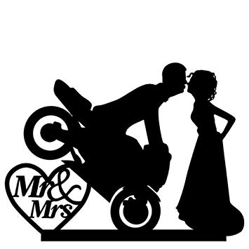 Motorcycle wedding clipart black and white stock Ezyforu Cake Toppers Motorcycle Bride Groom Mr & Mrs Acrylic ... black and white stock