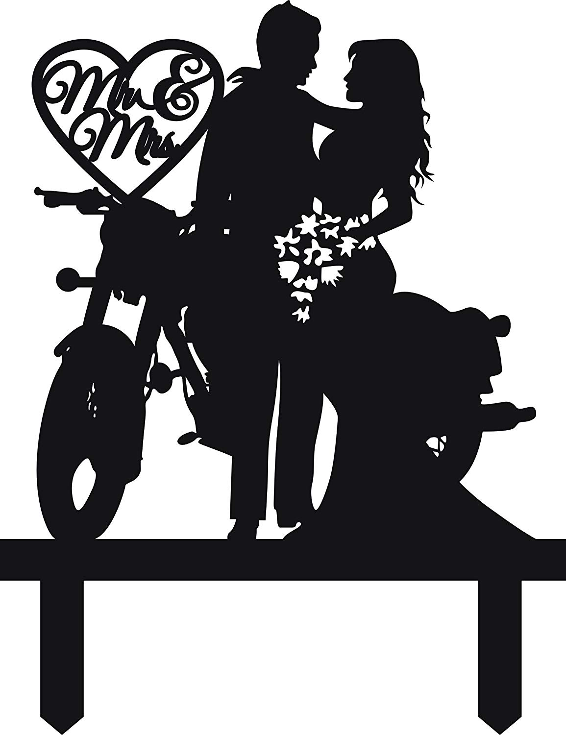 Motorcycle wedding clipart clipart freeuse Motorcycle Funny Wedding Cake Topper Mr Mrs Bride Groom with Motorbike  (Black) clipart freeuse