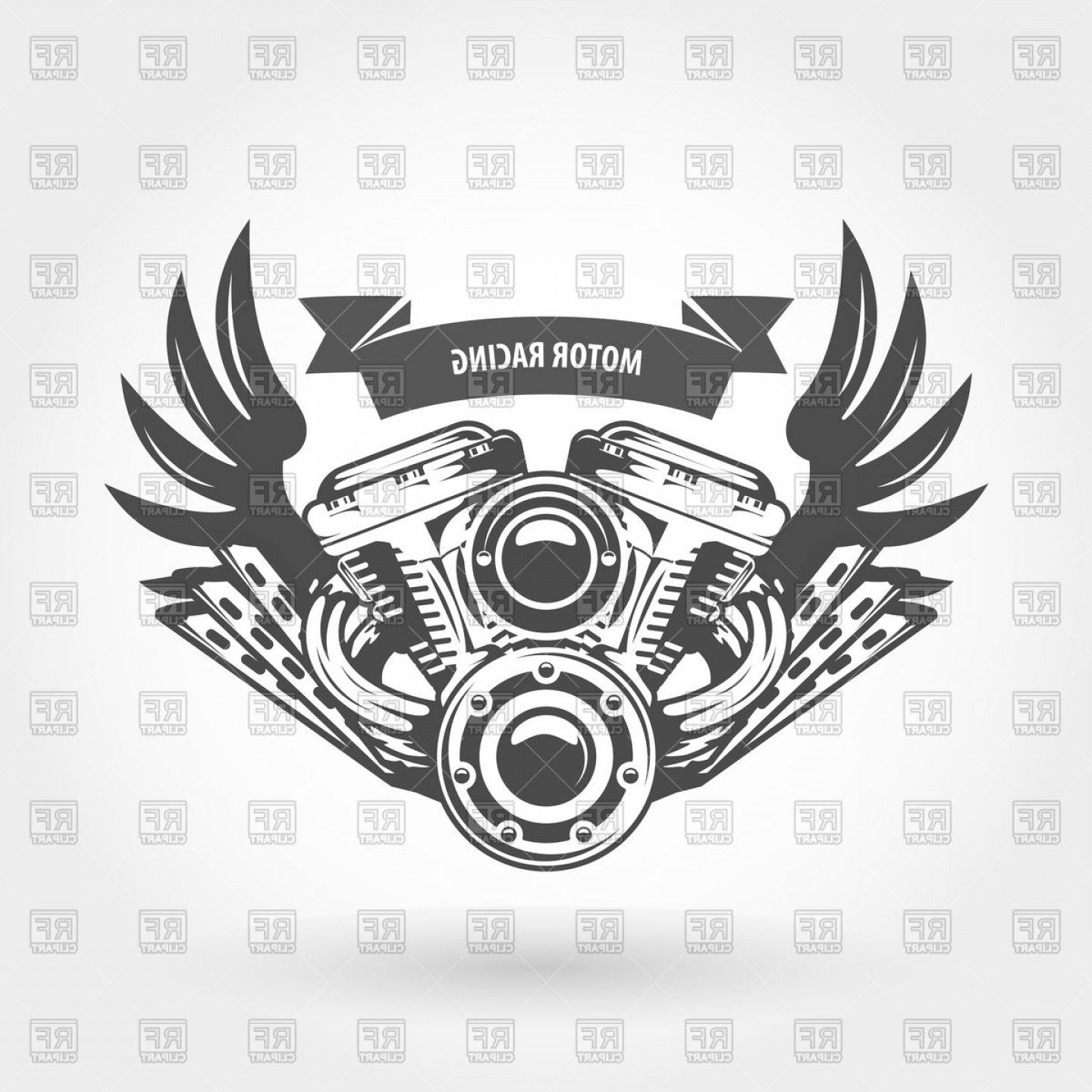 Motorcycle with wings clipart black and white stock Motorcycle With Wings Silhouette Vector | lamaison stock