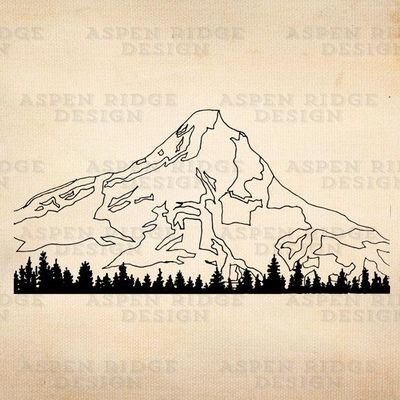 Mount hood clipart graphic freeuse library Mt. Hood II Digital Instant Download Vector Clip Art Oregon ... graphic freeuse library