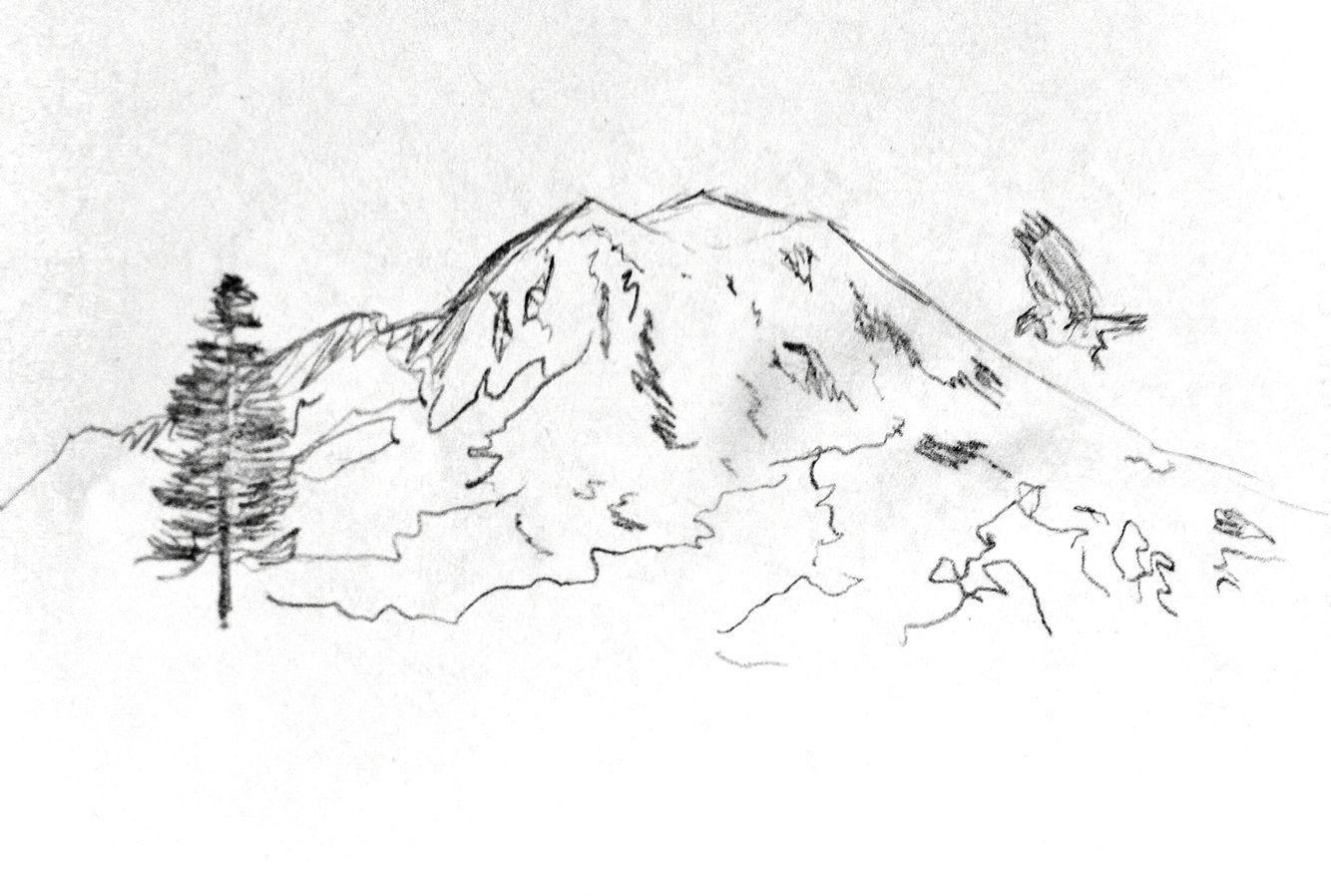 Mount rainier clipart clip library download My sketch for mountain tattoo - Mt. Rainier inspiration ... clip library download