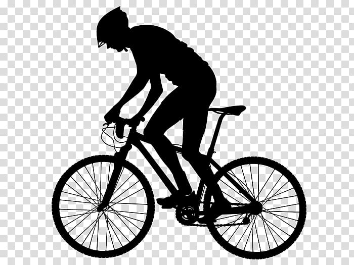 Mountain bike ride clipart black and white svg black and white stock Silhouette of man riding bicycle sticker, Bicycle Cycling ... svg black and white stock