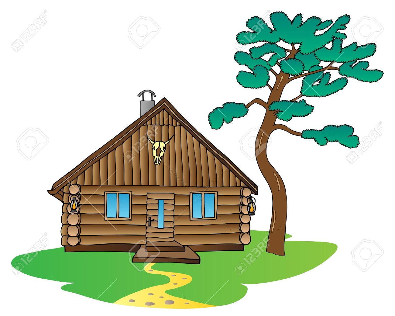 Mountain cabin clipart vector royalty free Mountain Cabin Cliparts 3 - 1300 X 1040 - Making-The-Web.com vector royalty free