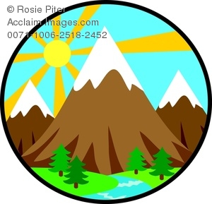 Mountain clipart with a sun behind it image stock Clipart Image of The Sun Rising Behind a Mountain Landscape image stock