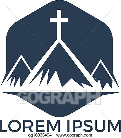 Mountain cross clipart vector transparent library EPS Vector - Baptist cross in mountain logo design. Stock ... vector transparent library