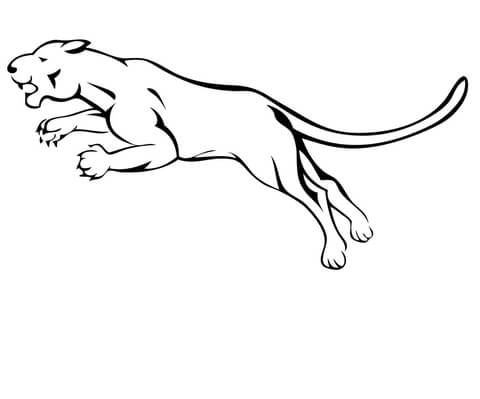Mountain lion clipart black and white vector download Attacking Mountain Lion coloring page | Free Printable ... vector download