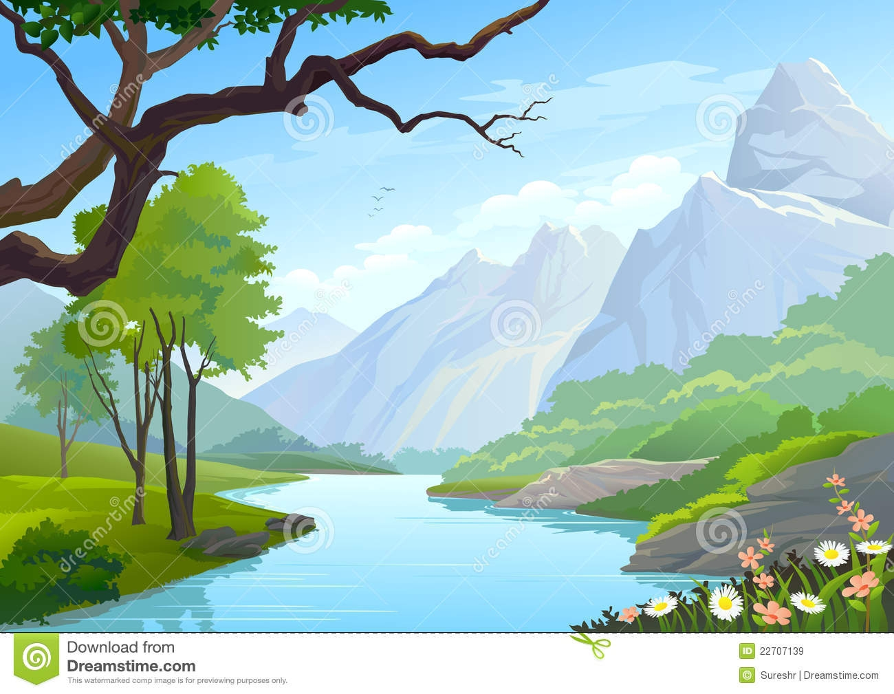 Mountain River Clip Art – Clipart Free Download clipart black and white