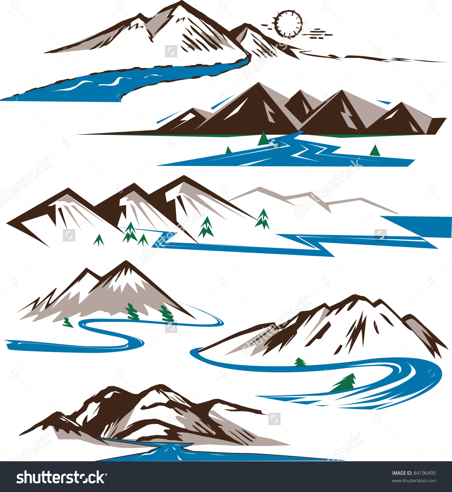 Mountain and river clipart - ClipartFest image free stock