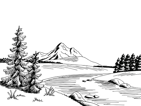 Mountain river black and white clipart - ClipartFest banner library stock