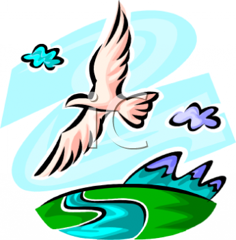 Bird Flying Over a Mountain River - Royalty Free Clipart Image png transparent