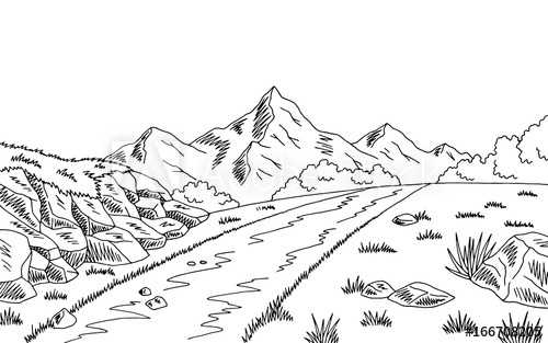 Mountains road clipart black and white clip freeuse library Mountain Black And White Sketch at PaintingValley.com ... clip freeuse library