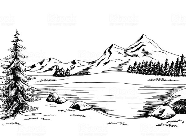Mountain with trees and road clipart black and white clipart royalty free download 25+ Black And White Landscape Clip Art Pictures and Ideas on ... clipart royalty free download