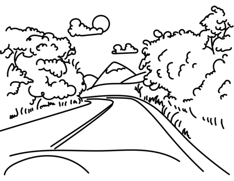 Mountain with trees and road clipart black and white image transparent download Road in Mountain coloring page   Free Printable Coloring Pages image transparent download