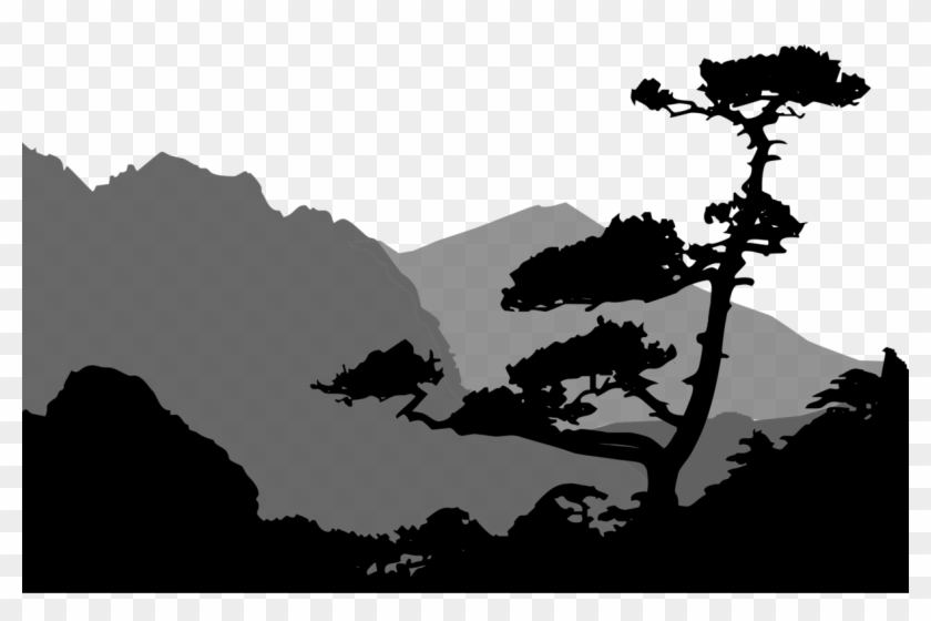 Mountain with trees and road clipart black and white picture transparent stock Mountain Clipart Silhouette - Silhouette Of Mountains And ... picture transparent stock
