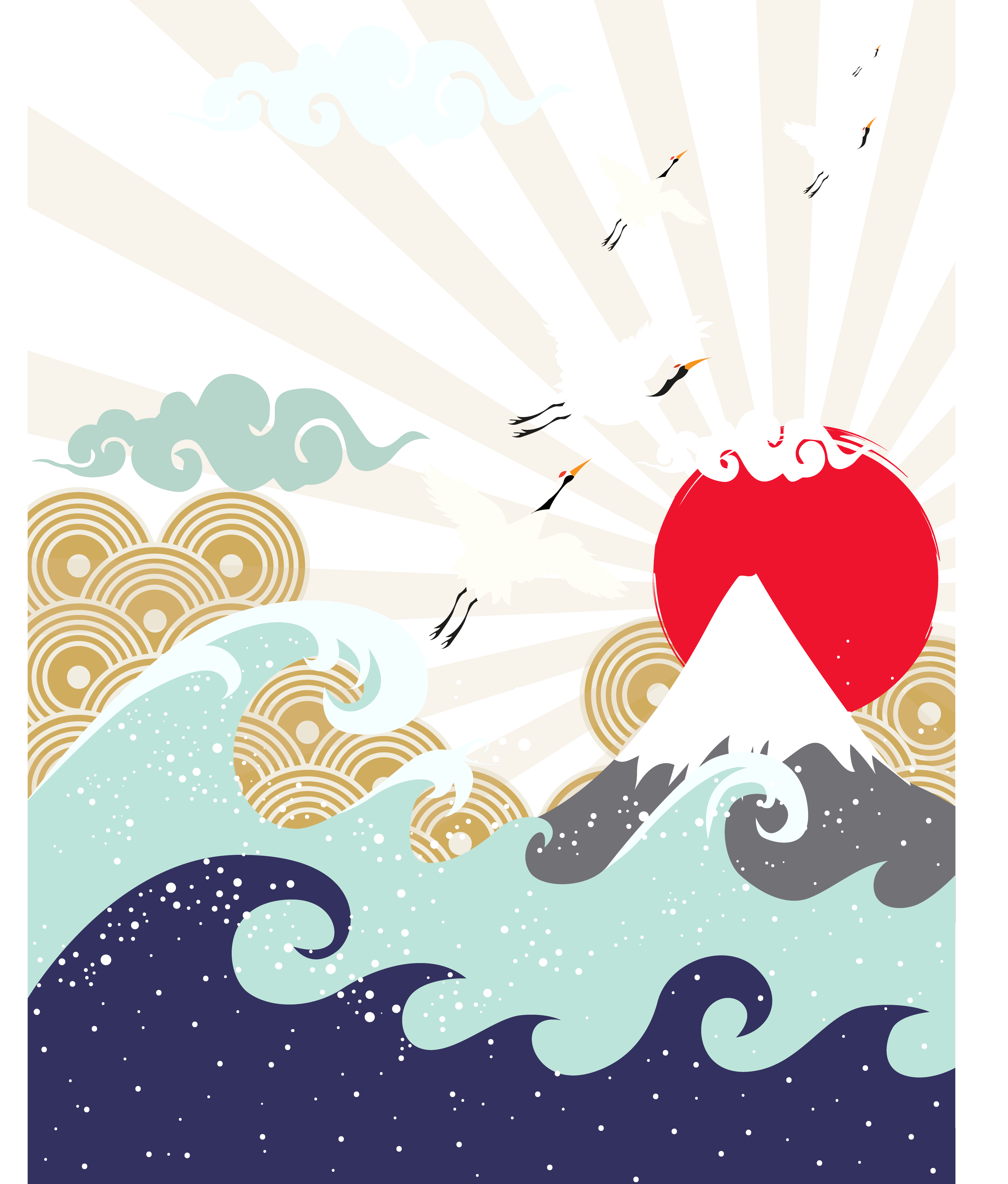 Mountains sun and cloud clipart png royalty free download Japan Wave Illustration - Mountain Sun Japanese illustration 3846 ... png royalty free download