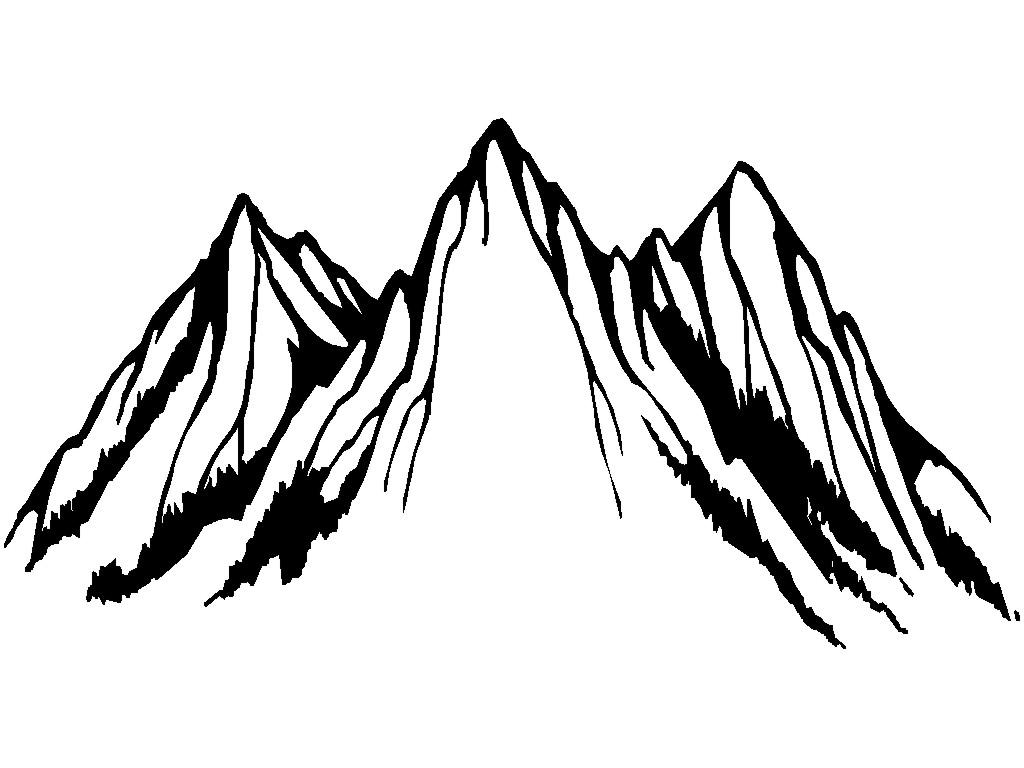 Mountian peake clipart black and white outline graphic library stock Mountain outline top clipart black and white outline ... graphic library stock