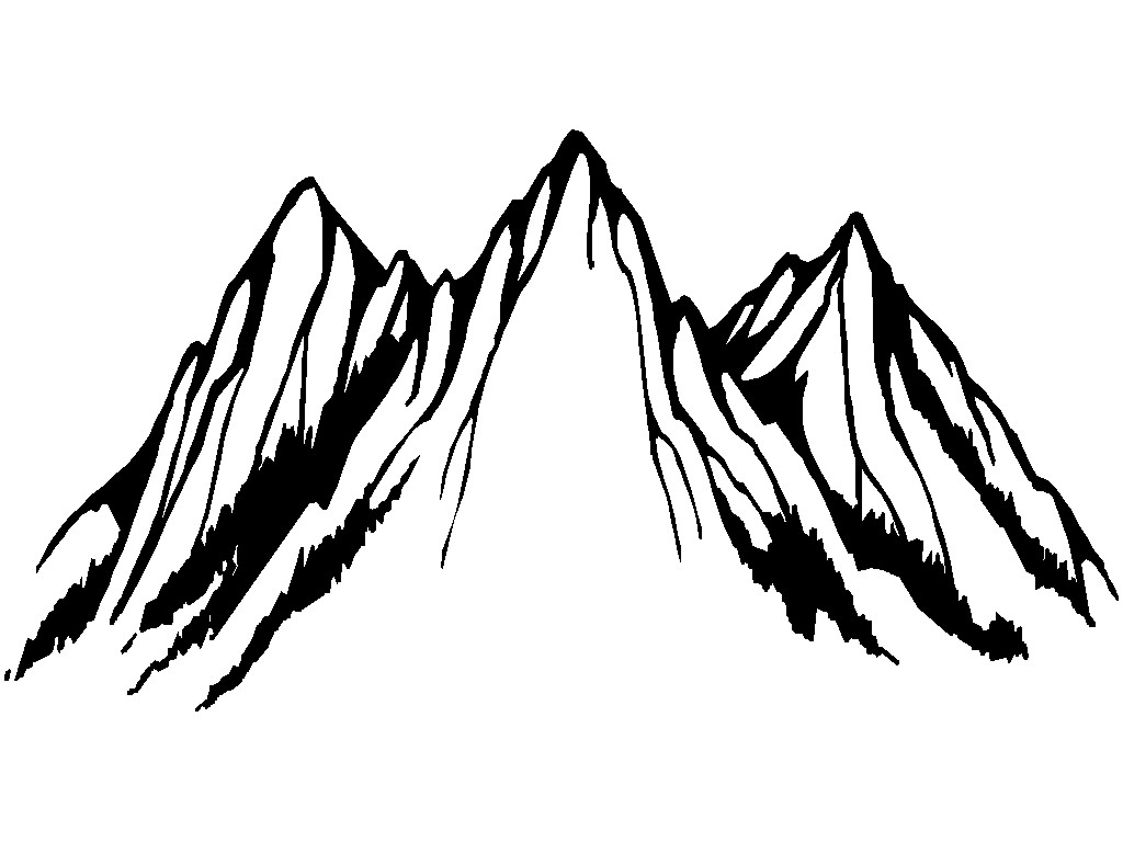 Mountian peake clipart black and white outline graphic free download Mountain Clipart Black And White | Free download best ... graphic free download