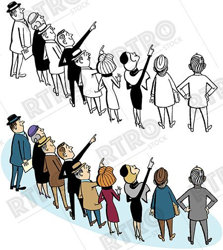 Mourningcrowd clipart picture transparent stock A cartoon of a crowd of people all looking up at something ... picture transparent stock