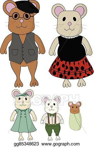 Mouse family clipart graphic library library Vector Stock - Cute mouse family cartoon set. Clipart ... graphic library library