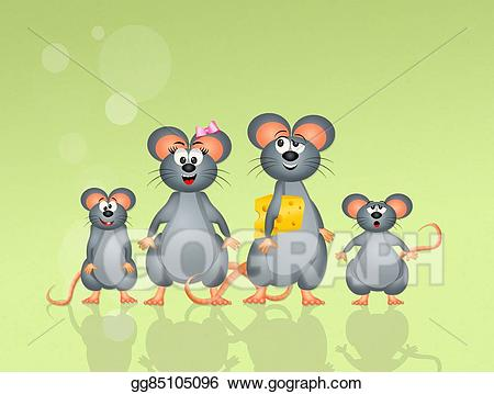 Mouse family clipart image library Stock Illustration - Family of mice. Clipart Drawing ... image library