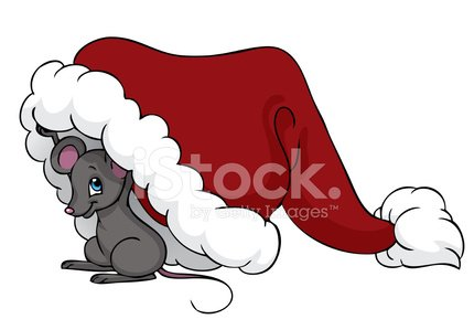 Mouse hiding clipart graphic freeuse download Little Mouse Under Christmas Hat stock vectors - 365PSD.com graphic freeuse download