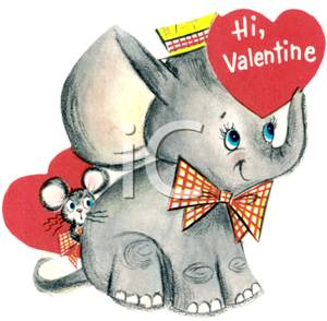 A Mouse Hiding Behind an Elephant Holding a Valentine with ... graphic transparent stock