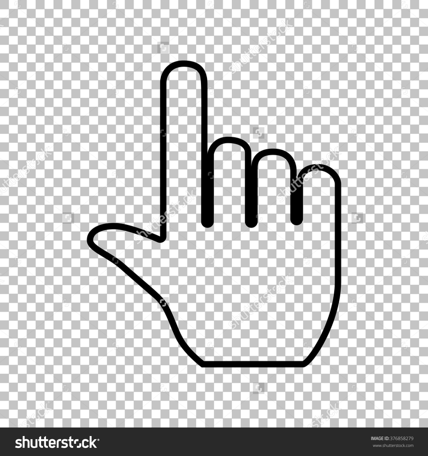 Mouse pointer clipart no background png black and white stock Hand Sign Flat Style Icon On Stock Vector 376858279 - Shutterstock png black and white stock