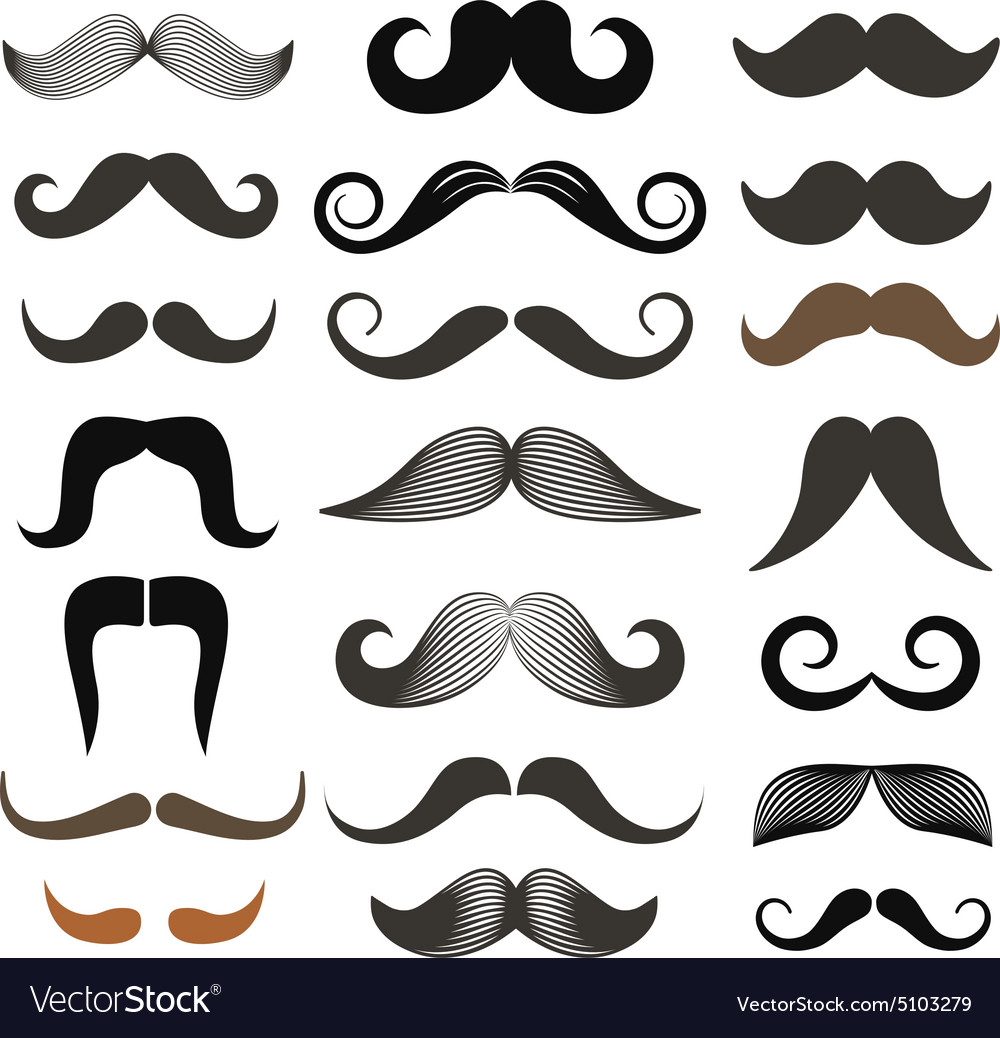 Moustache styles clipart png library Different retro style moustache clip-art set png library