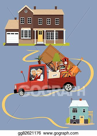 Move house clipart picture black and white library EPS Vector - Seniors moving to a new home. Stock Clipart ... picture black and white library