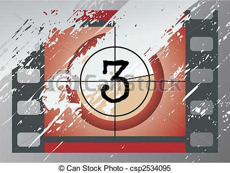 Movie countdown clip art png transparent library Clipart Vector of film countdown (vector) - Scratched Film ... png transparent library