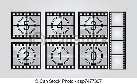 Movie countdown clip art vector Vectors Illustration of film strip countdown - black and white ... vector