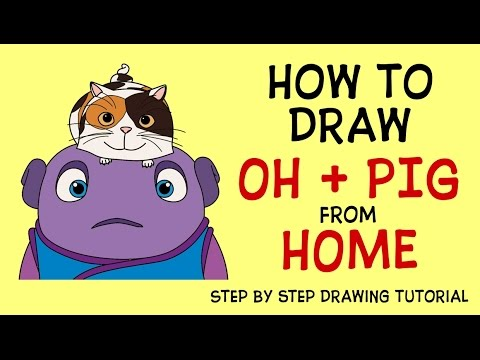Movie home character clipart vector royalty free How to draw Oh with Pig Home movie characters - Cómo dibujar Oh ... vector royalty free