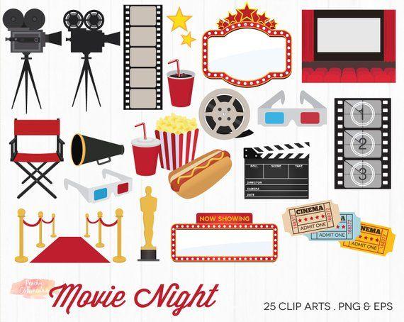 Movie theme clipart jpg freeuse stock BUY 2 GET 1 FREE Movie Night Clipart - Movie Clipart - Movie ... jpg freeuse stock