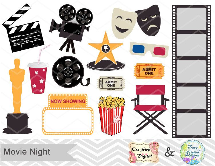 Movie theme clipart png library download Digital Movie Clip Art Digital Movie Party Clipart Digital ... png library download